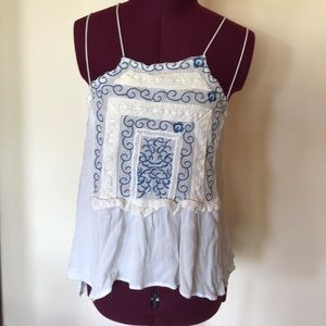 Embroidered Blue White String Strap Top S